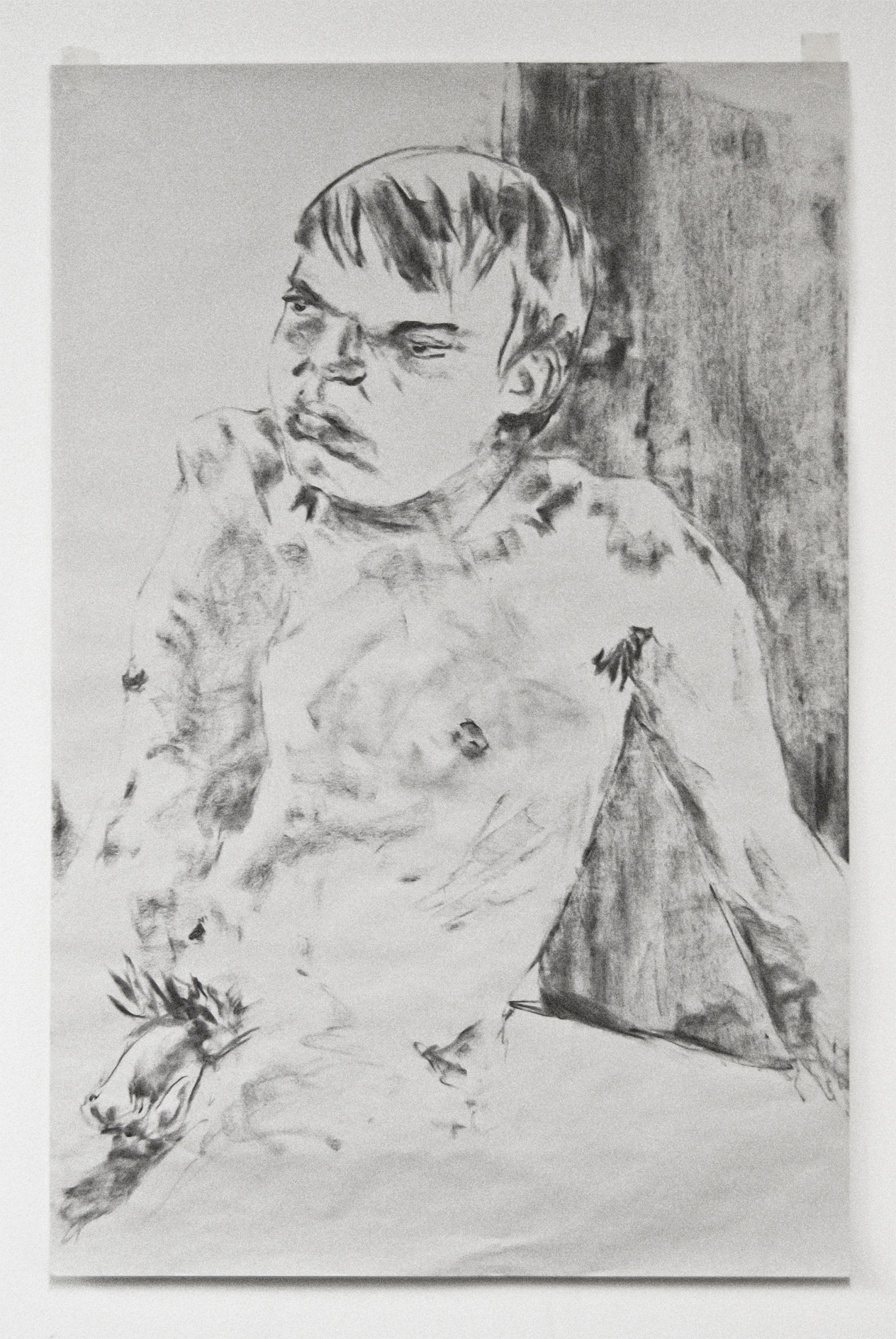 Charcoal on Newsprint, Life Drawing Male Nude