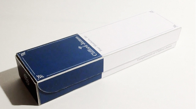 Photograph of the packaging for a complimentary shoehorn