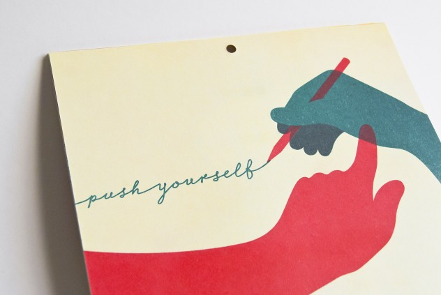 Photograph of my Push Yourself illustration for the LMNOP Calendar 2012