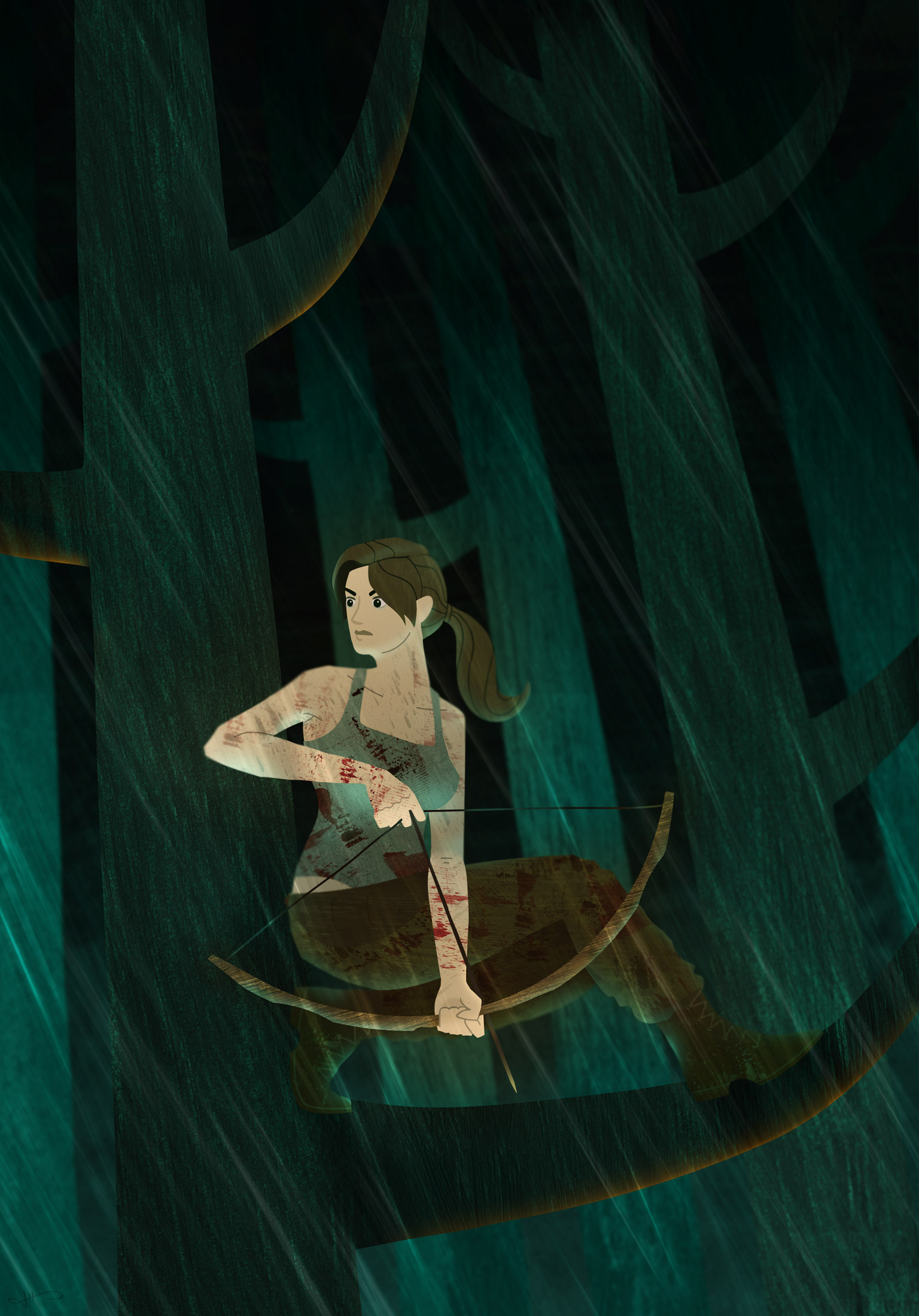 Illustration of Lara Croft crouching on a tree branch in the rain holding a bow and arrow.