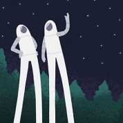 Triptych illustration of spacemen with ridiculously long legs throwing each other into space.